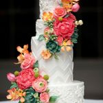 CINDY L - patterned wedding cake with handcrafted flowers