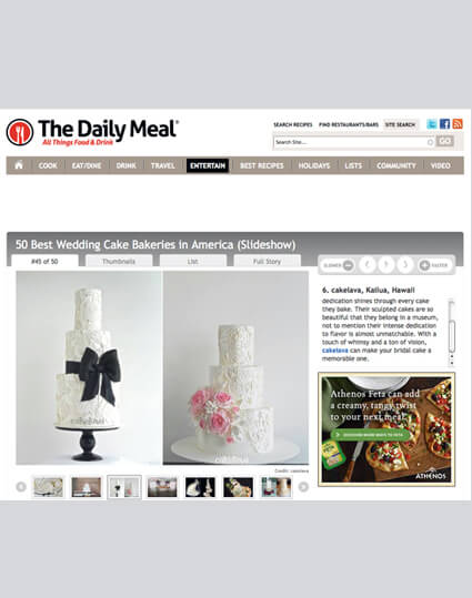 cakelava named number 6 best wedding bakery in America by Daily Meal