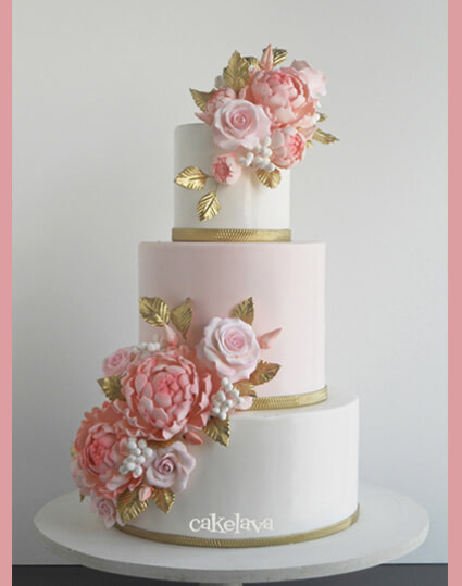 Alana - white, pink and gold wedding cake with handcrafted flowers
