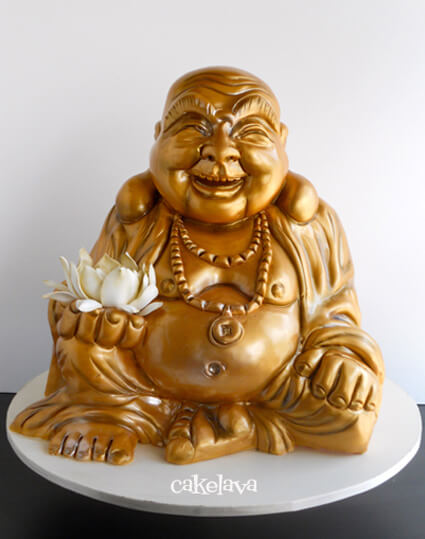 3D sculpted gold Buddha cake by cakelava, Las Vegas, NV