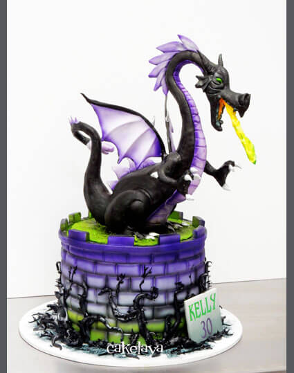 Las Vegas birthday cake with handmade dragon