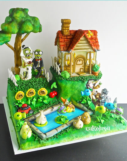 Plants vs. Zombies wedding cake by cakelava, Las Vegas, NV