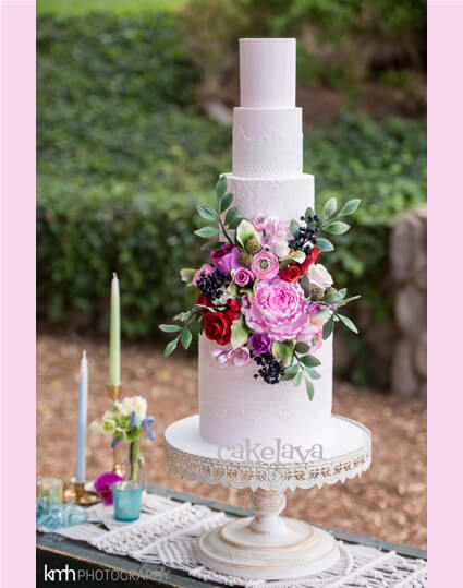 Boho wedding cake with handcrafted flowers
