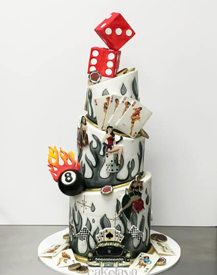 Retro Las Vegas Rockabilly theme cake by cakelava, Las Vegas