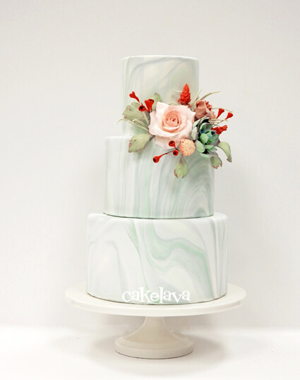 Marbled fondant wedding cake by cakelava, Las Vegas, NV