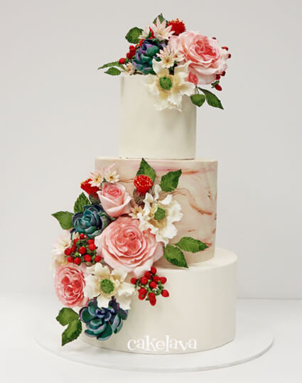 Desert theme wedding cake with handcrafted florals by cakelava, Las Vegas