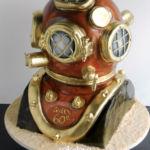 Antique diver's helmet cake