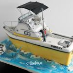sculpted fishing boat cake