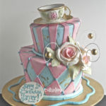 Pretty pink cake with teapot