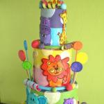 colorful jungle kids cake