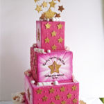pink cake with stars