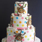 Monkeys and polka dots cake