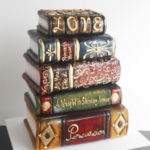 stacked books cake