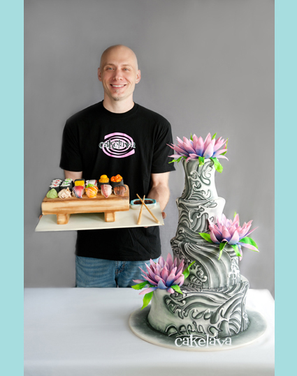 Rick Reichart with his sushi cake and tattoo cake