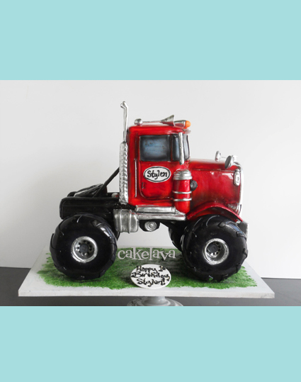 big red monster truck cake